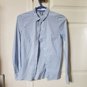H&M Blue and White Striped Button Down Dress Shirt